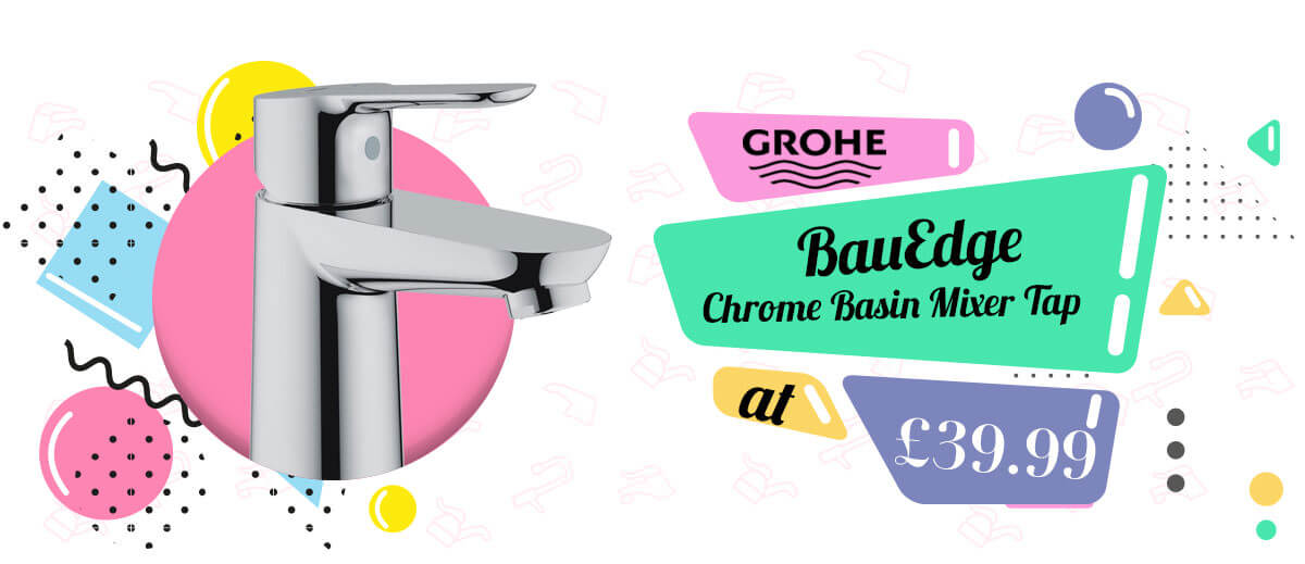 Grohe BauEdge 1-2 Inch Chrome Basin Mixer Tap - 23330000