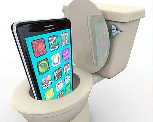 touch screens drop in the toilet