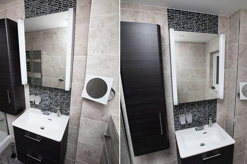 Illuminated Aluminium Mirrored Cabinet