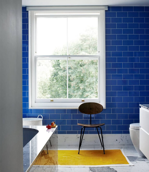 Grey Bathroom Decor with Blue Tiles