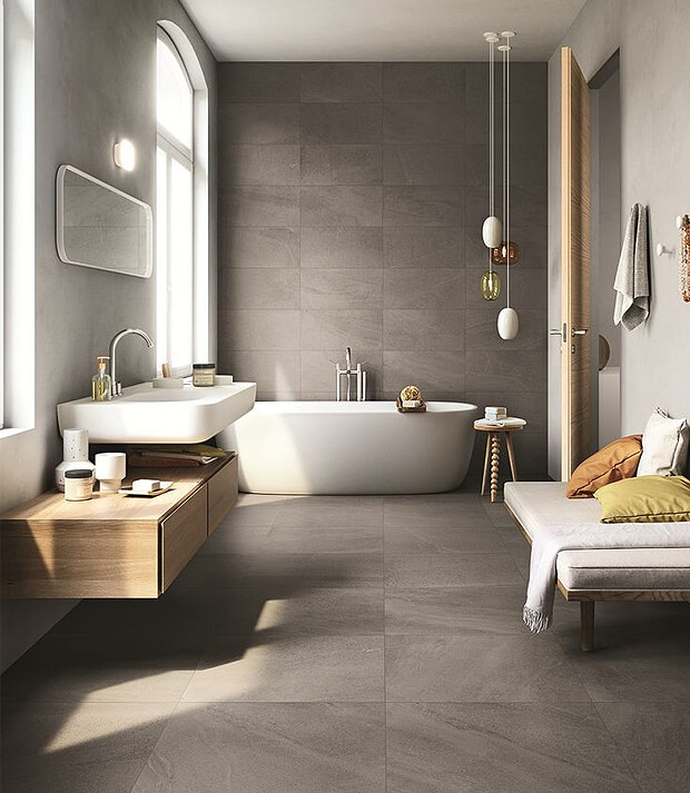 Grey Bathroom with Oak Bathroom Furniture