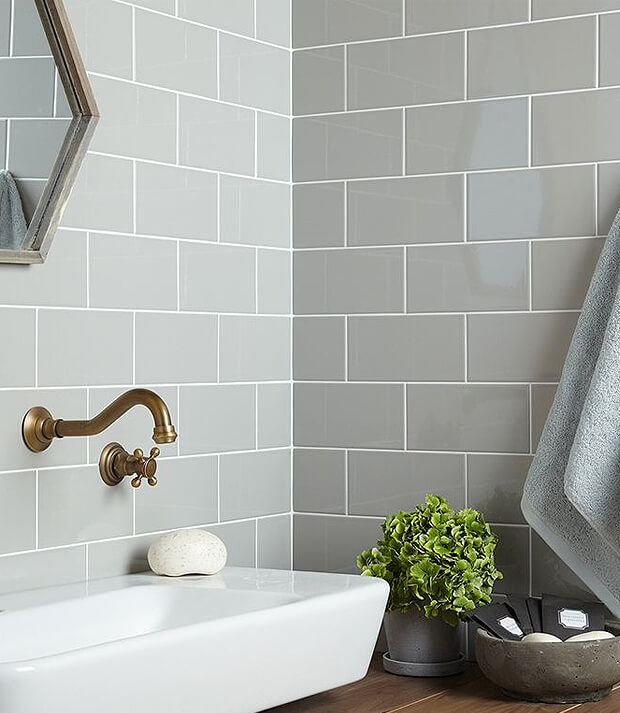 Grey Subway Tiles with White Basin