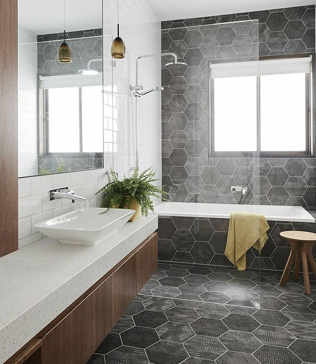 Grey Hexagon Tiles with Bath
