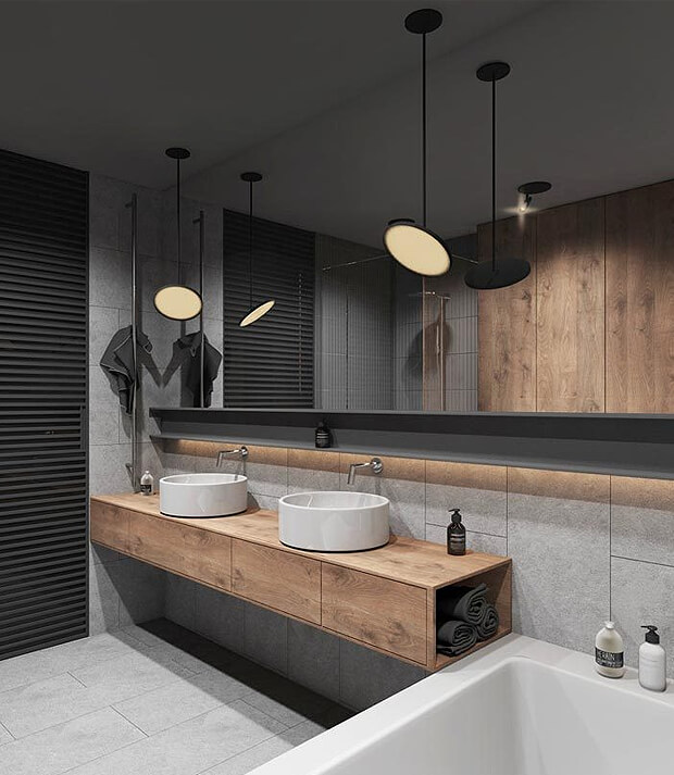 Grey Tiles with Wooden Bathroom Furniture