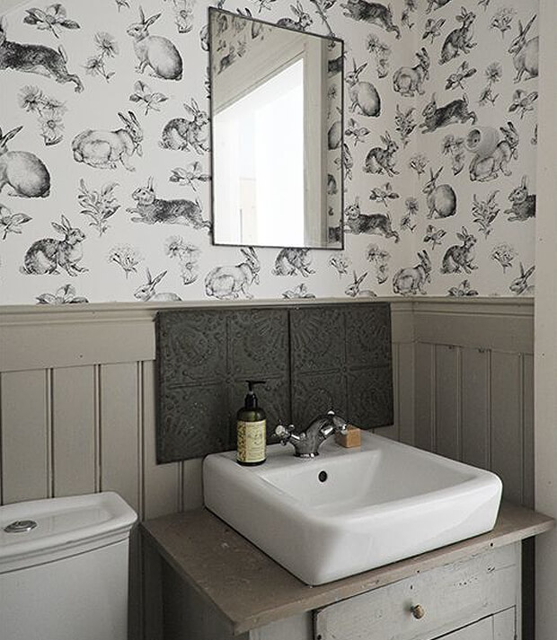 Half Panel Grey Bathroom