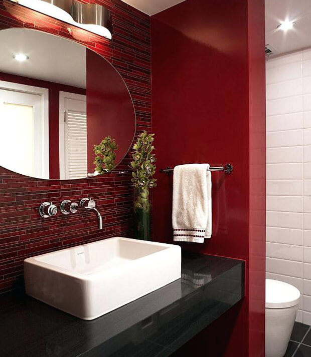 Grey Bathroom Furniture with Red Walls
