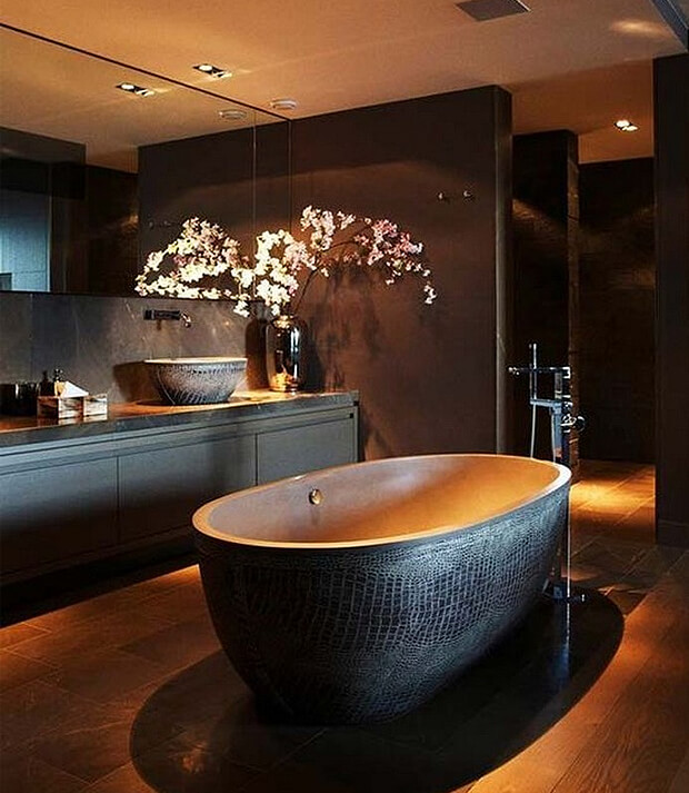 Grey Bath & Bathroom Furniture with Leather Shade Colour