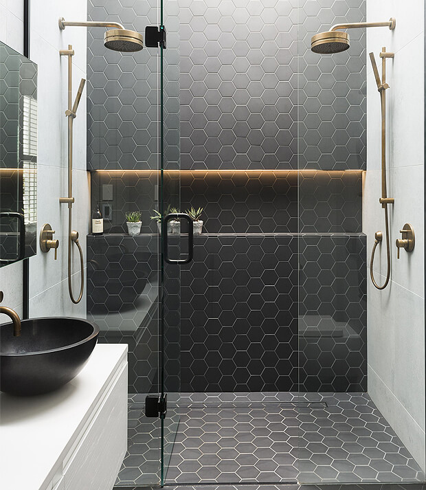 Grey Bathroom Hexagon Tiles