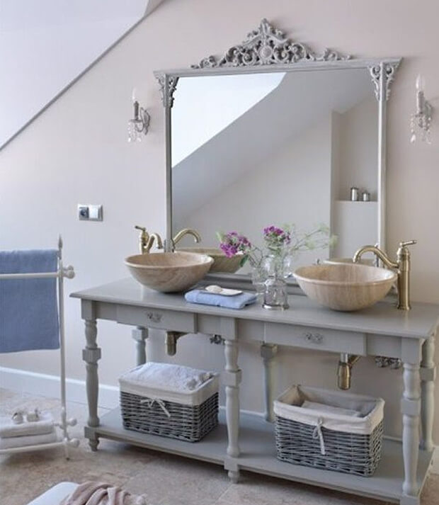 Grey Bathroom Vanity & Mirror