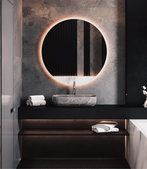 Grey Bathroom with LED Mirror