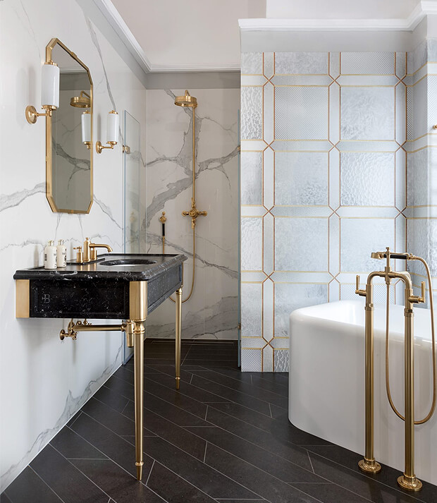 Grey & Gold Bathroom Decor
