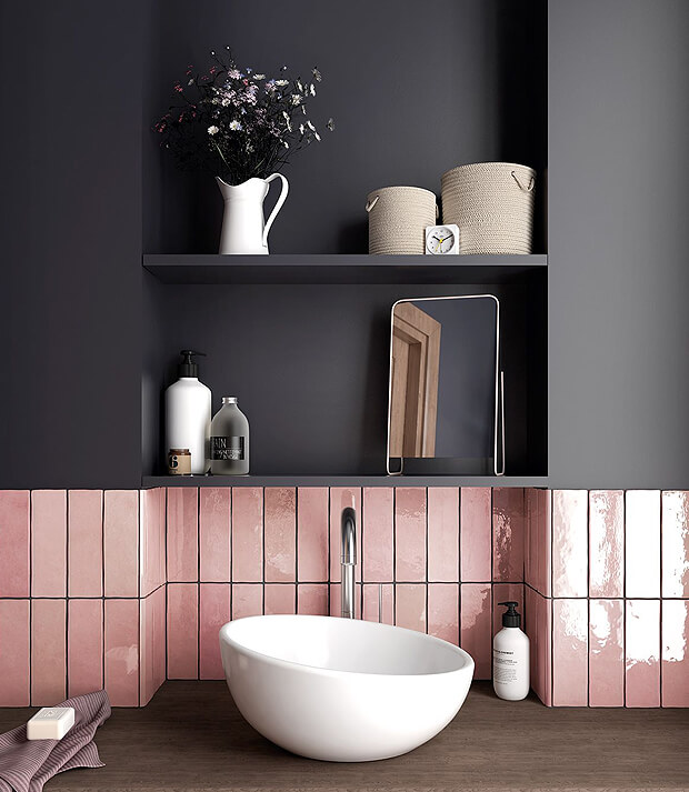 Grey Bathroom Walls with Pink Bathroom Tiles