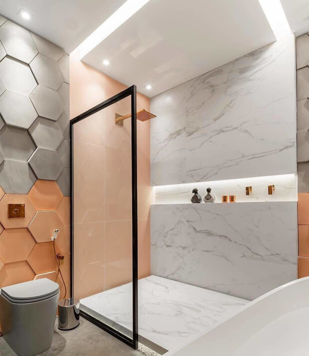 Grey and Orange Bathroom Tiles