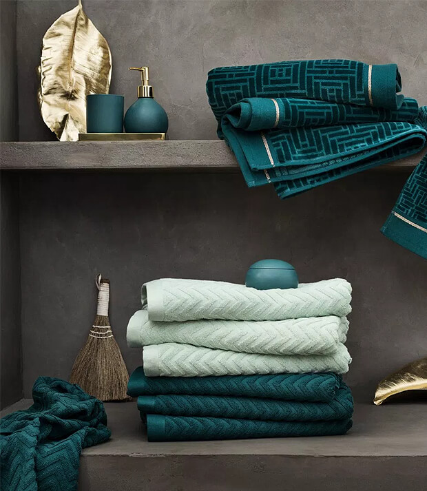 Grey Bathroom with Green and Blue Bathroom Accessories