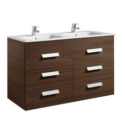 Roca Debba Unik 6 Drawer Base Unit And Double Bowl Basin 1200mm